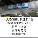 「大森海岸」新築1棟デザイナーズマンション利回り6.5%